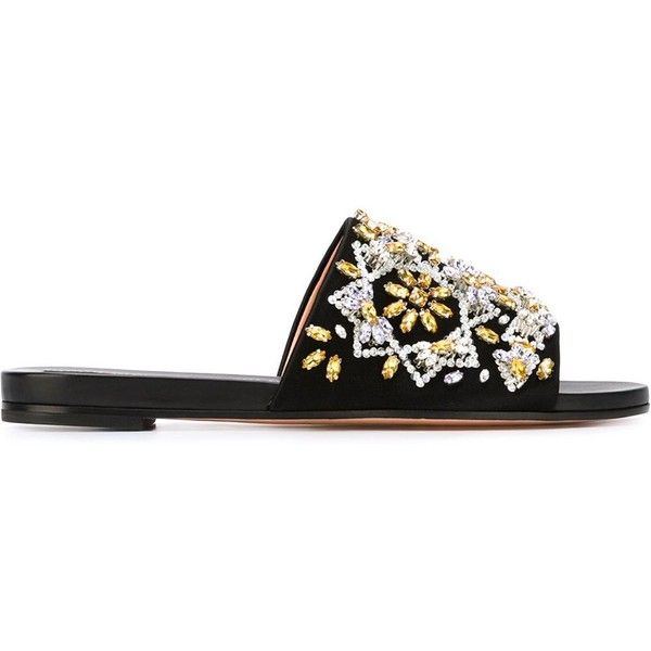 Rochas Rhinestone Embellished Sliders (3.685 BRL) ❤ liked on Polyvore featuring shoes, black, rochas shoes, genuine leather shoes, leather shoes, decorating shoes e black open toe shoes
