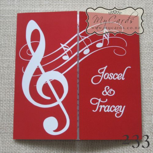Music Notes Wedding Invitation Red 233 Gatefold Front