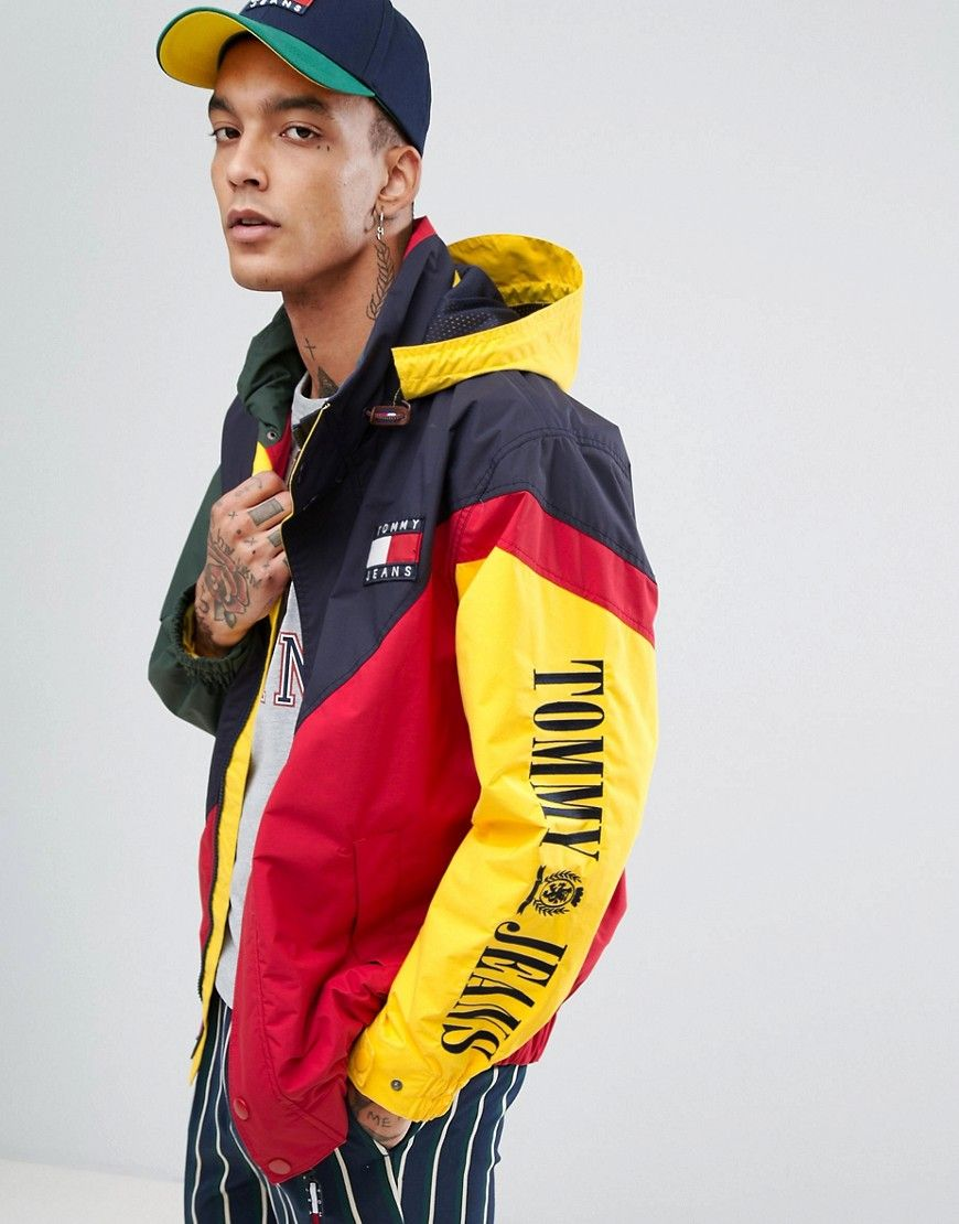 8d8b672306 TOMMY JEANS 90 S CAPSULE SAILING JACKET COLORBLOCK IN RED NAVY - MULTI.   tommyjeans  cloth