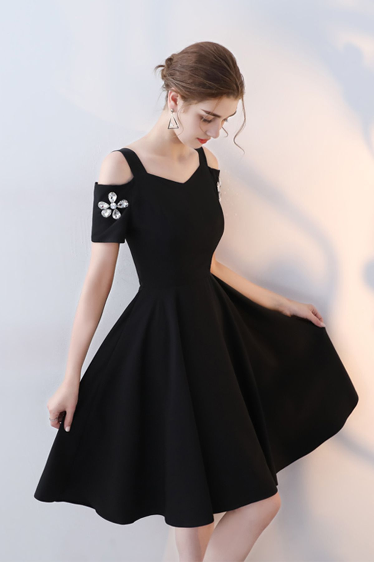 Cute black polyester short prom dress for teens #fashion