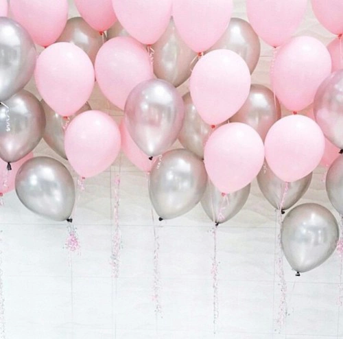 Pink Balloons And Silver Image Pink Birthday Birthday Balloons Silver Balloon