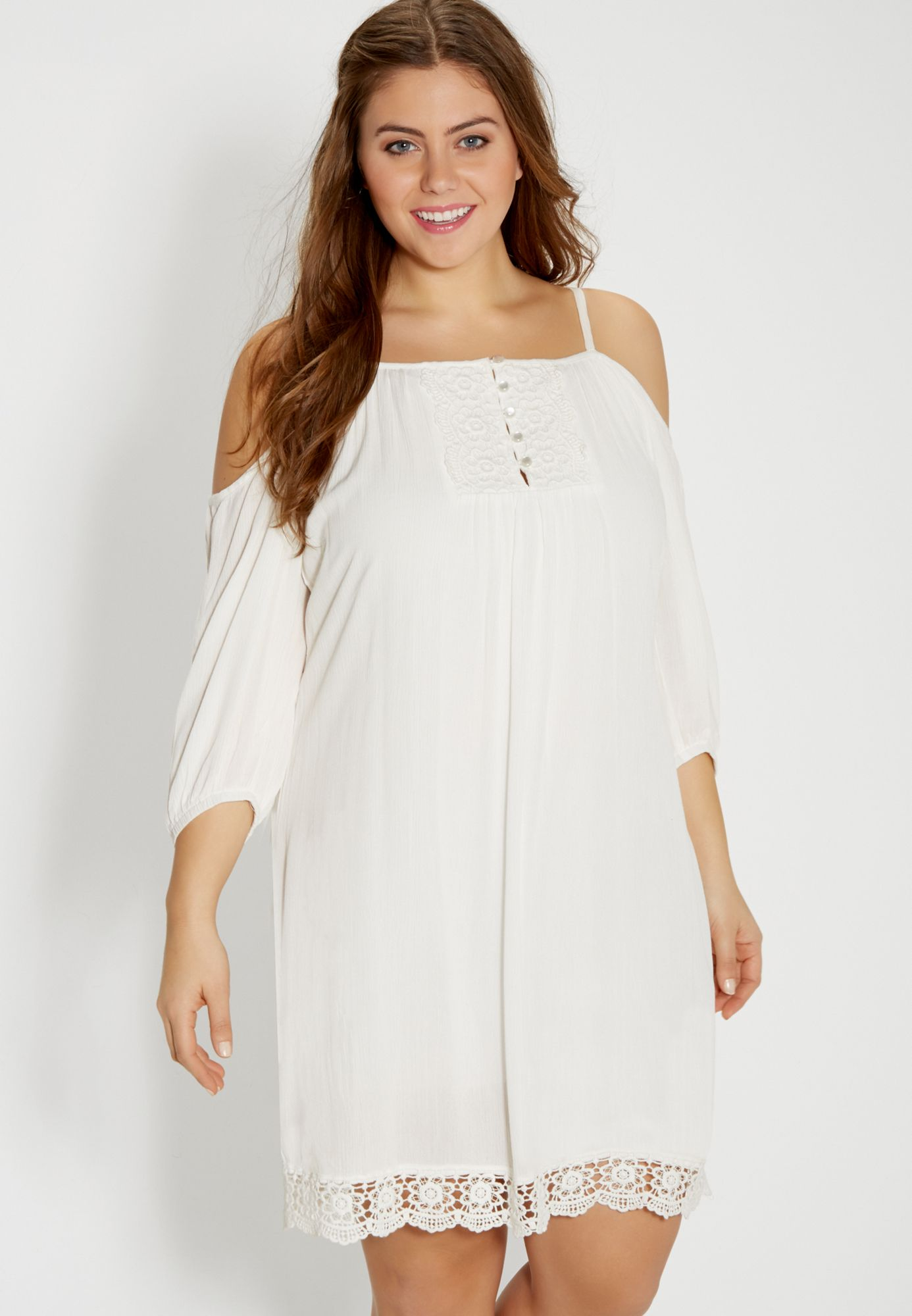 plus size peasant dress with lace and cold shoulder sleeves ...
