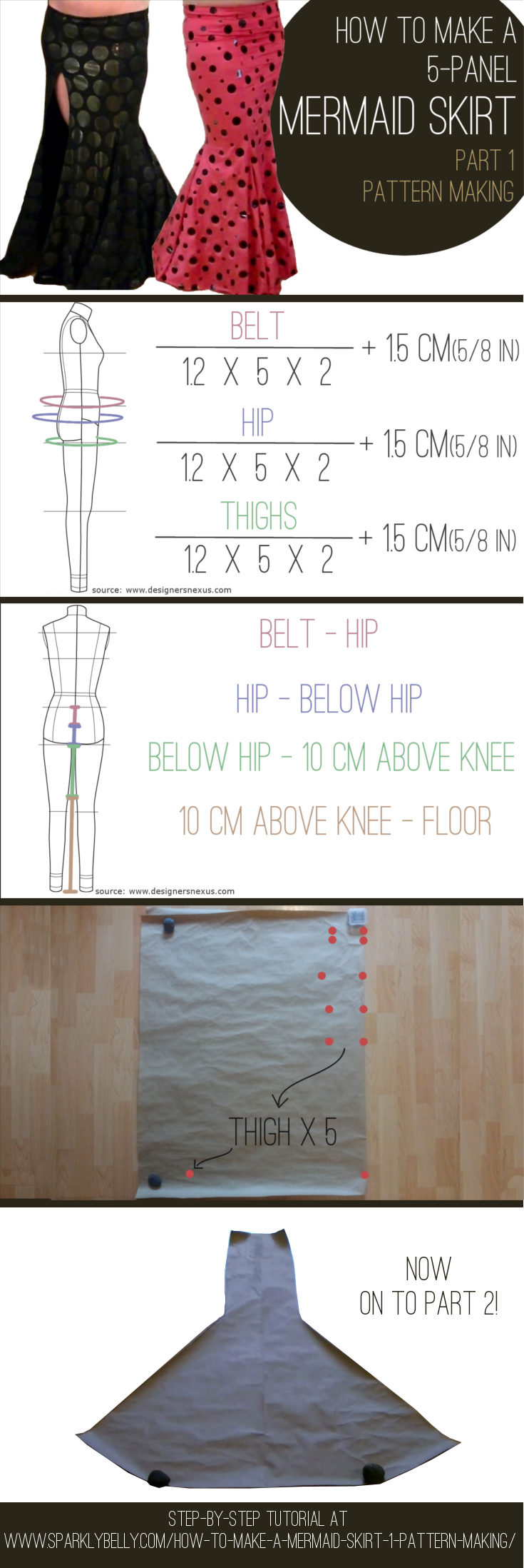 How to Make a Mermaid Skirt Part 1: Pattern Making - SPARKLY BELLY ...