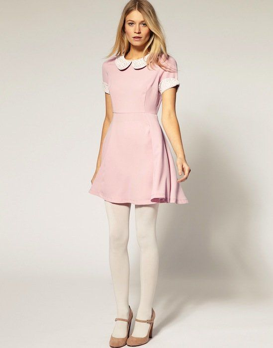 Pink baby doll dress and baby neck pearls f a s h i o n pinterest baby doll dresses Pink fashion and style pink dress