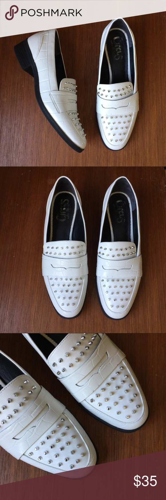 e0194c35dc75 Circus by Sam Edelman White Studded Loafers An edgy twist on a classic  shoe. The Lali loafer. Croc embossed pattern. Silver studs. Faux leather.