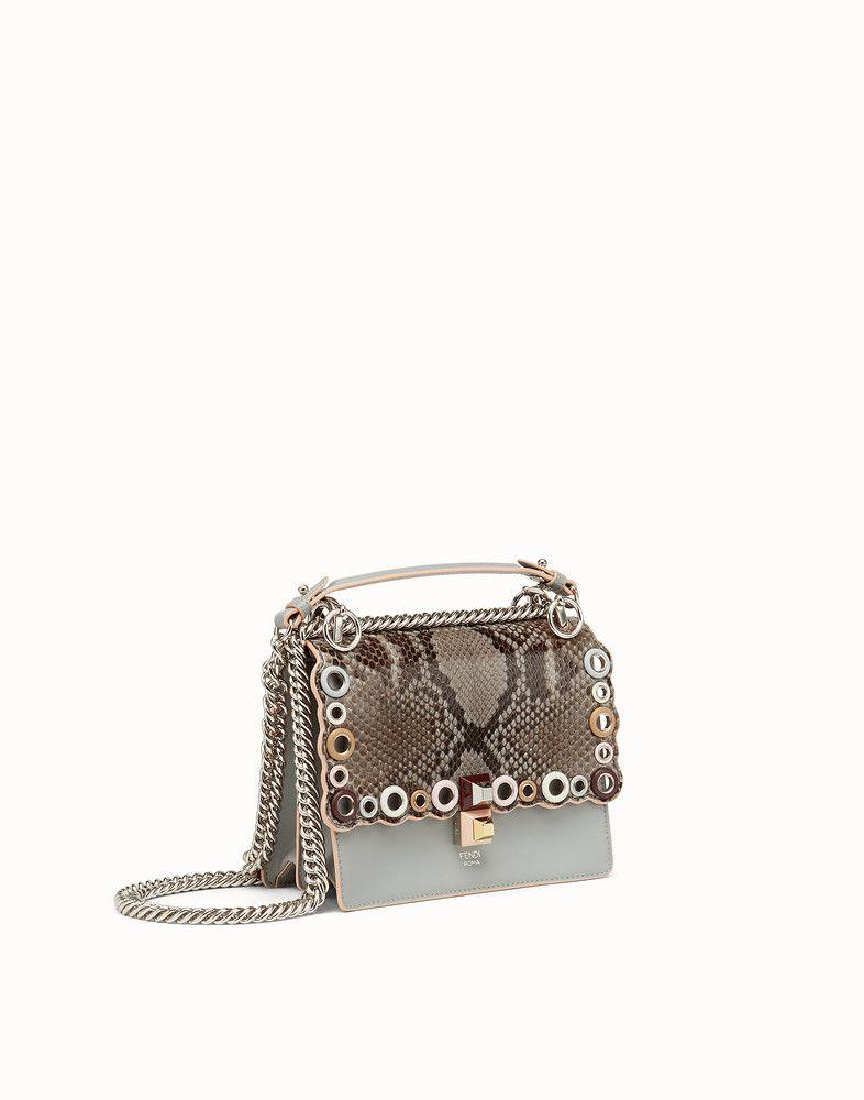 3989438cbc FENDI KAN I SMALL - Exotic gray leather mini-bag - view 2 detail ...