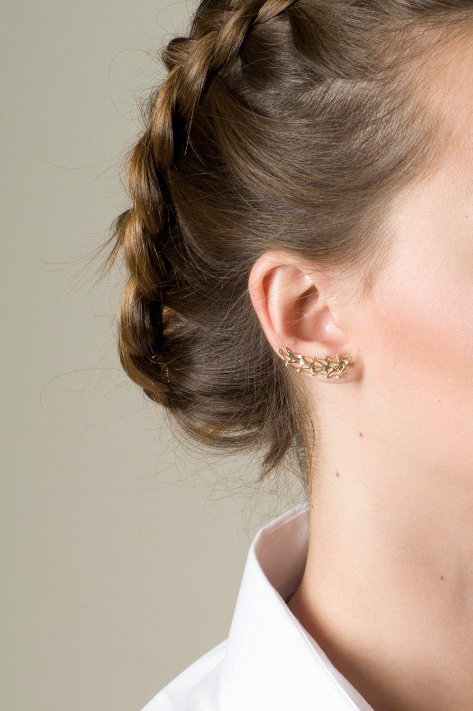 Women/'s Girls Silver Leaf Sweep Wrap Ear Climber Cuff Earrings fashion
