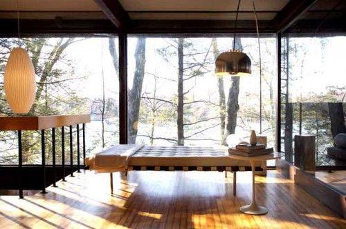 mid century lake house