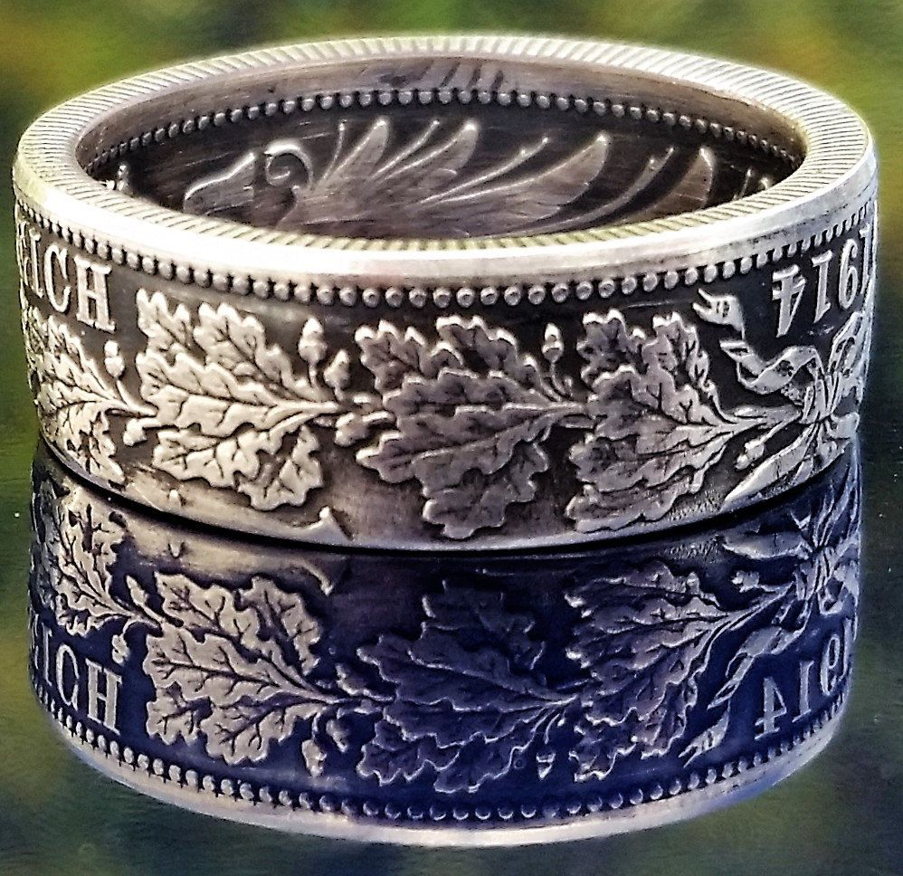 German one Deutsche Mark Coin Ring Handmade