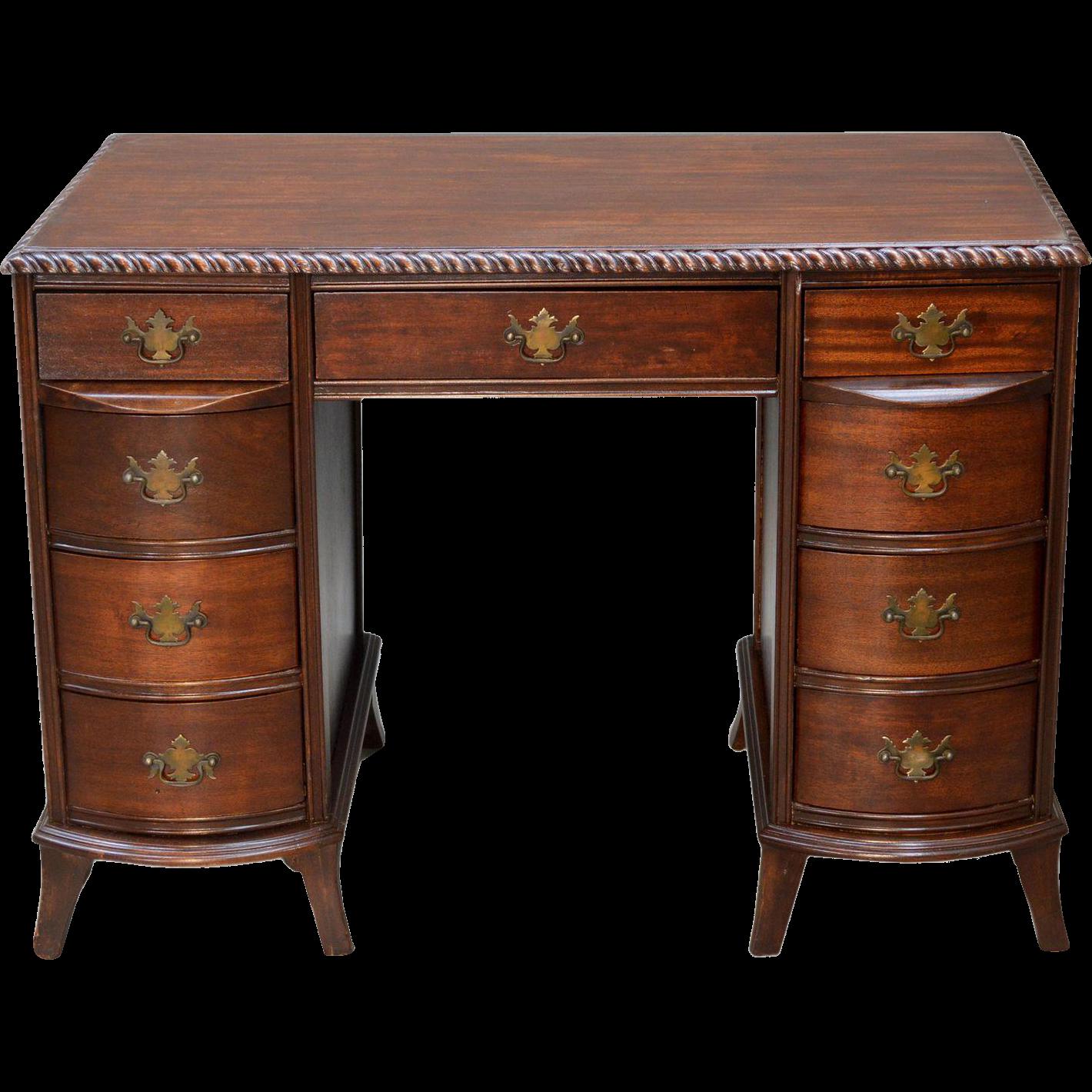 Vintage Mahogany Duncan Phyfe Flat Top Writing Desk