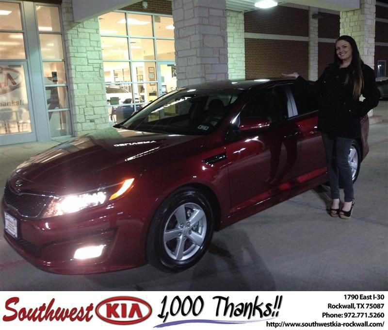 Congratulations to Melissa Richardson on your #Kia #Optima purchase from Kathy Parks at Southwest KIA Rockwall! #NewCar