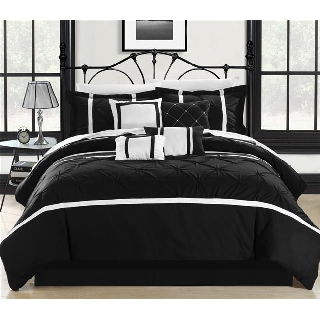 Photo of Chic Home 127-160-Q-12-US Vermont Black & White Queen 12 Piece Bed in a Bag Comforter Set with 4 Piece Sheet Set