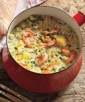 Shrimp and Corn Chowder ~ Toss potatoes, corn, shrimp, leeks, and fennel into the pot for a creamy, hearty meal ready in just 30 minutes