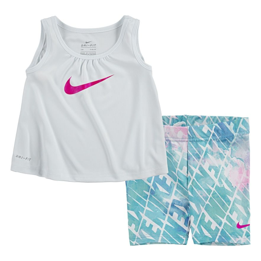 Baby Girl Nike Dri Fit Studio Tank Top Bike Shorts Set In 2020