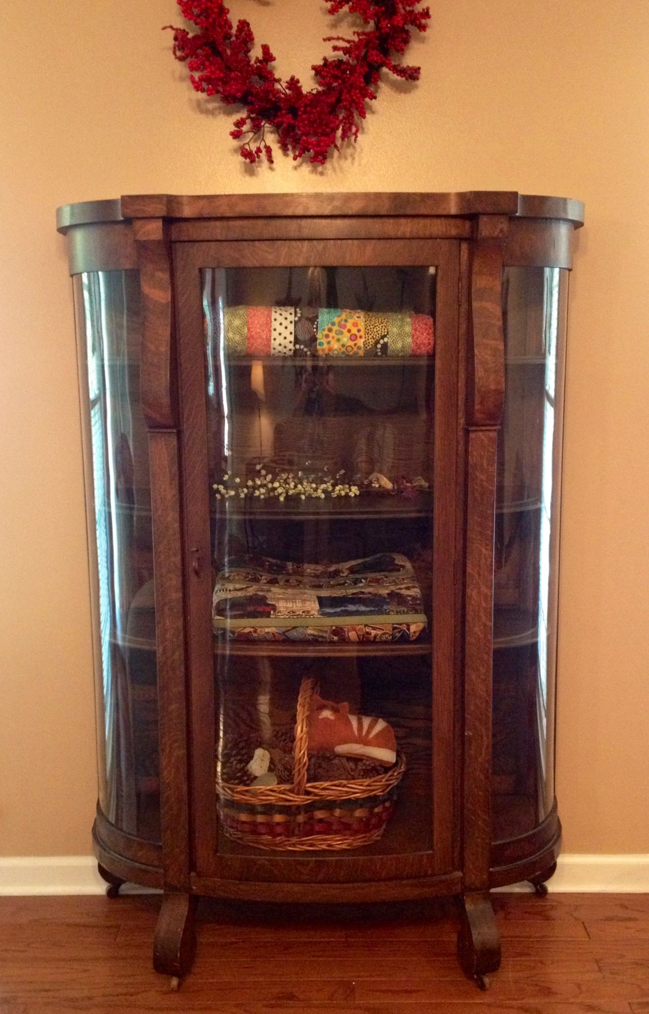 Excellent Quilt Display Cabinet: Antique China cabinet with wood shelves  KU36
