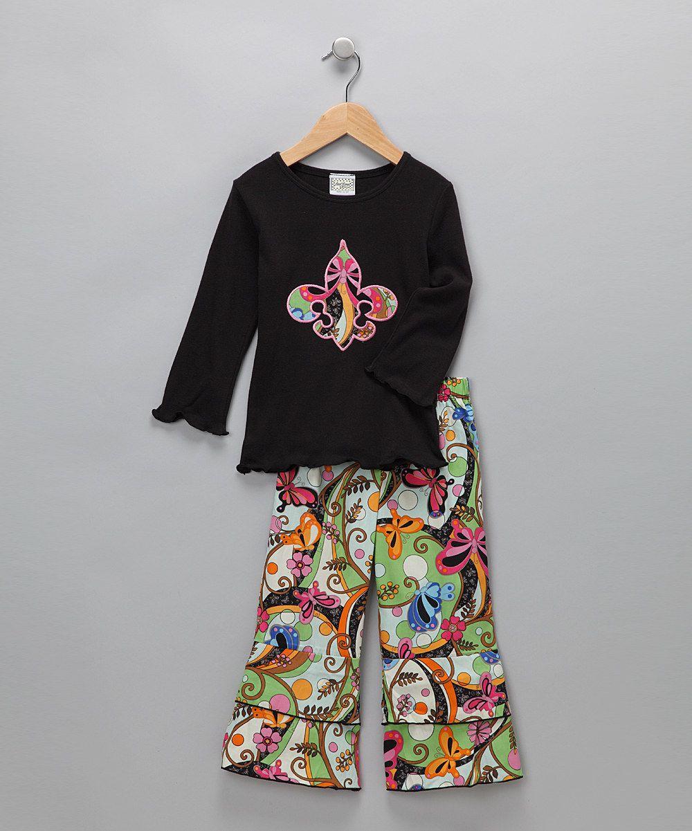 Black Fleur-de-Lis Tee & Pants (AnnLoren)