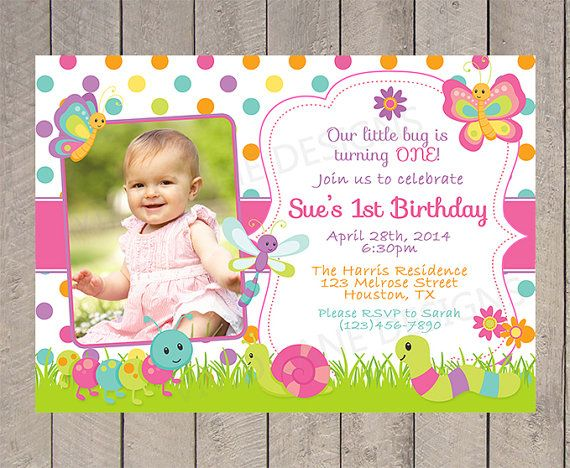 Girl First Birthday Invitation With Photo Pink by VividLaneDesigns