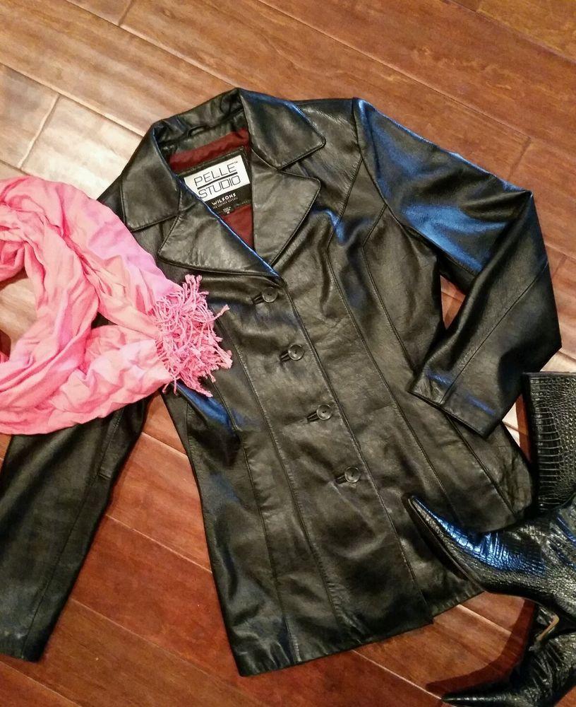 Wilsons Pelle Studio Womens Soft Black Leather Jacket