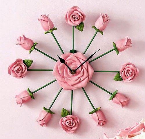 Rose Wall Clock Rose Clock Pink Clocks Picture Clock