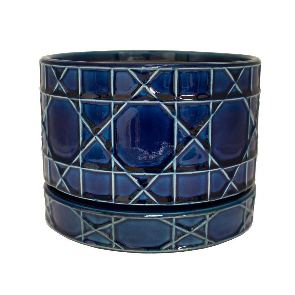 Trendspot 8 5 In Dia Cobalt Blue Carlysle Ceramic Bowl Planter Cr10020s 080m The Home Depot Ceramic Bowls Ceramics Gold Ceramic