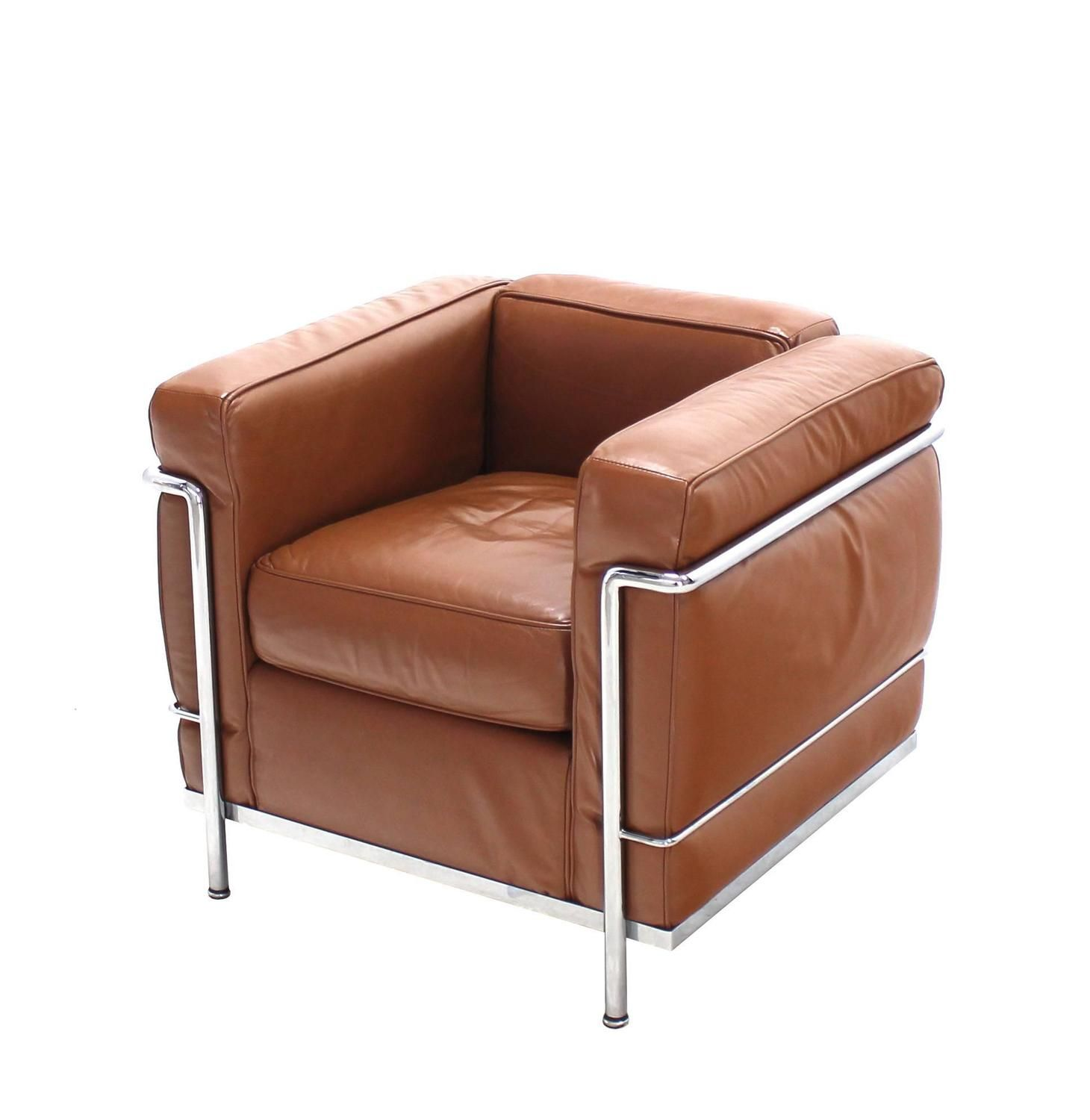 Le Corbusier Lc2 Cassina Brown Leather Pair Of Lounge Chairs