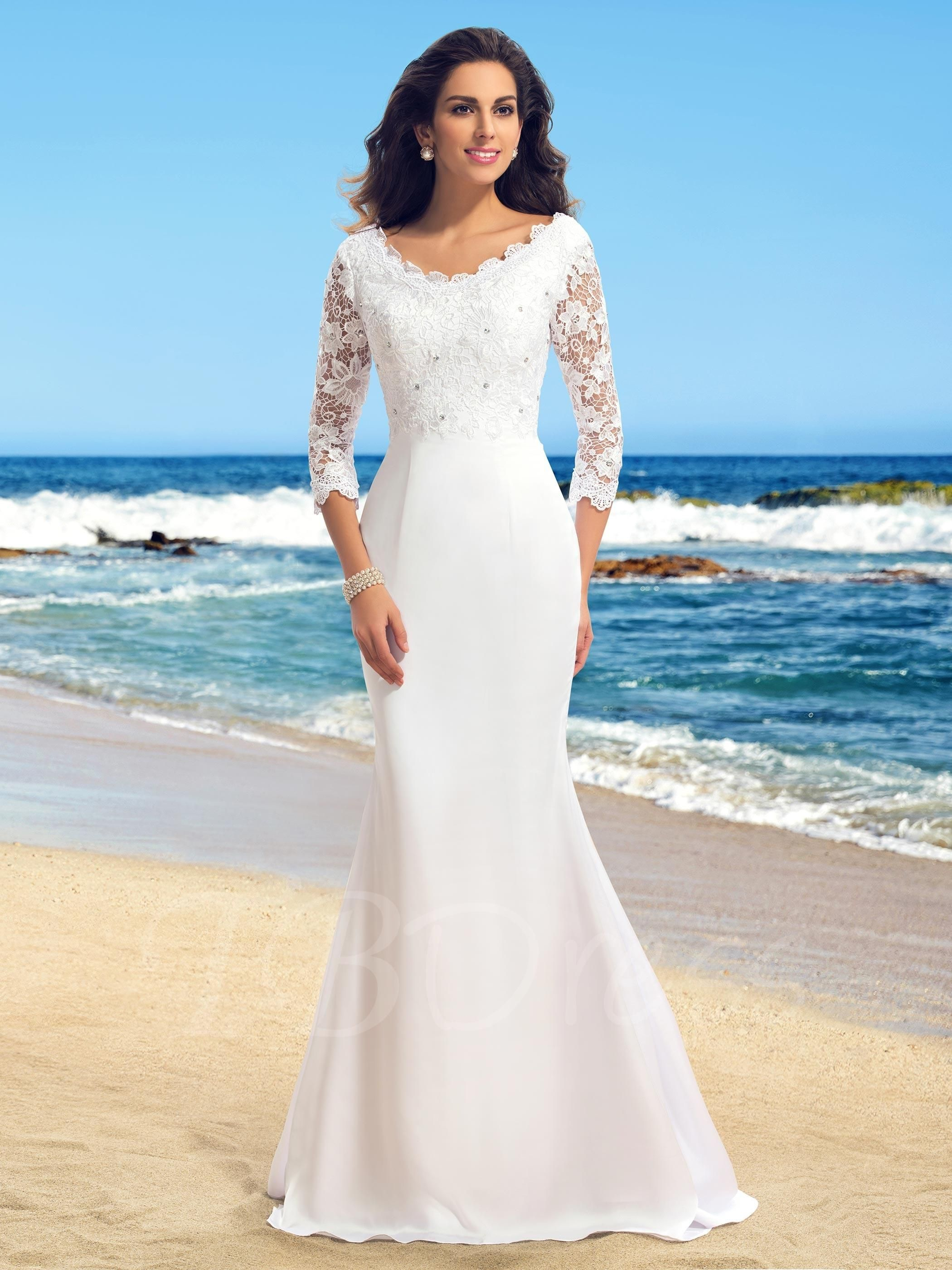 Lace Beading Trumpet Wedding Dress with Sleeves | Long wedding ...