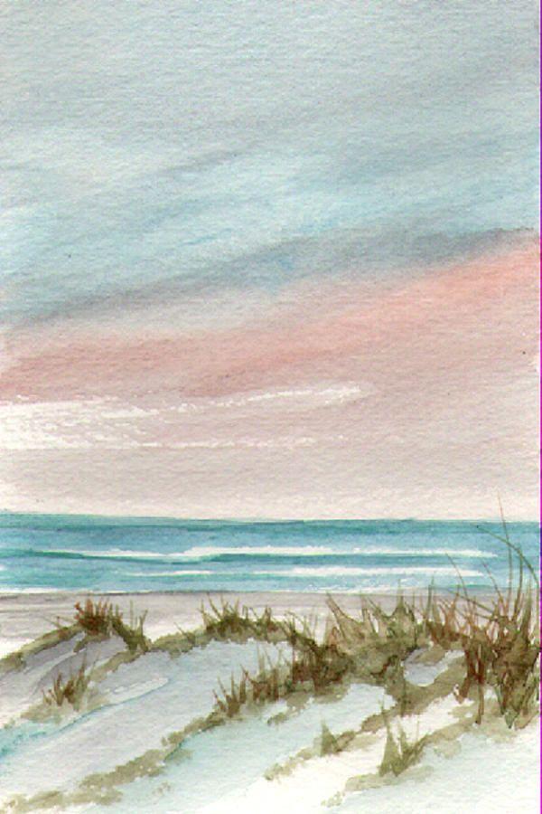 Apaisant Sunset Par Rosie Brown Plage Aquarelle Peinture