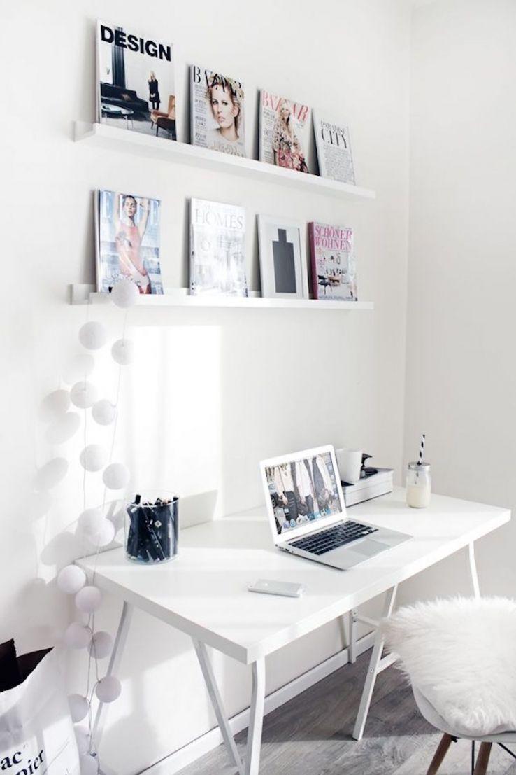 Pretty All WhiteWorkspace Home Office Details Ideas For Interior Design  Decoration Organization Architecture White Desk Chair