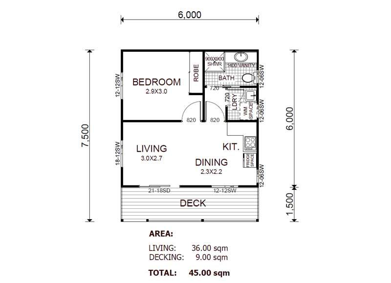 The chalet 45 granny flat kit home great pin for oahu for Granny flats floor plans