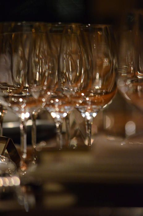 This fabulous crystal arrangement of fine stemware sits in wait for the celebration to come.