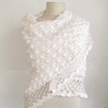 Crochet Shawl WHITE Wedding Bridal By ScarfsSale