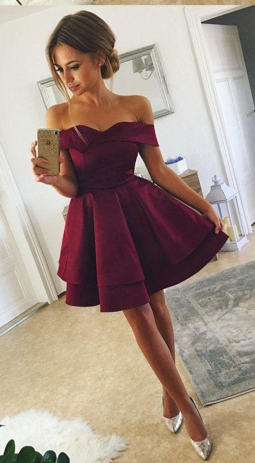 Sexy Burgundy Homecoming Dress, Off Shoulder Short Satin Prom Dress 0006