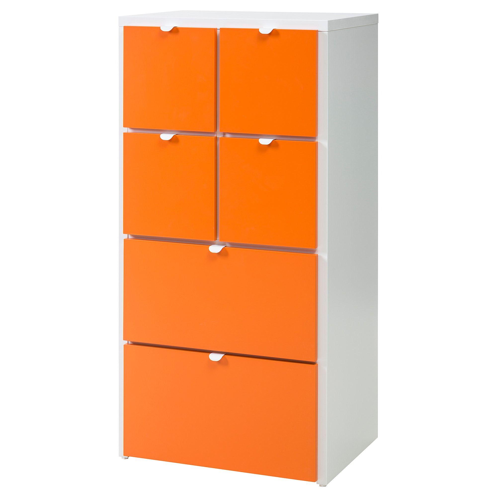 Visthus Kommode Mit 6 Schubladen Weiss Orange Ikea Schubladen
