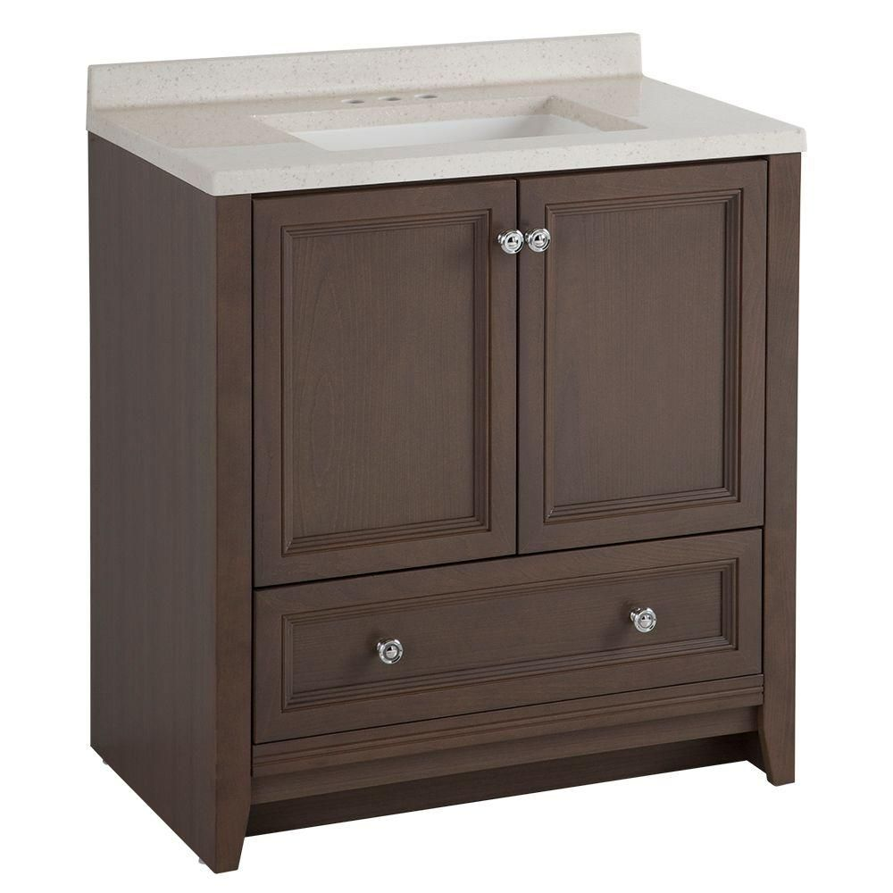 Glacier Bay Delridge 30 In. W X 19 In. D Bath Vanity In Flagstone With  Solid Surface Vanity Top In Titanium MVC30P2 FG   The Home Depot