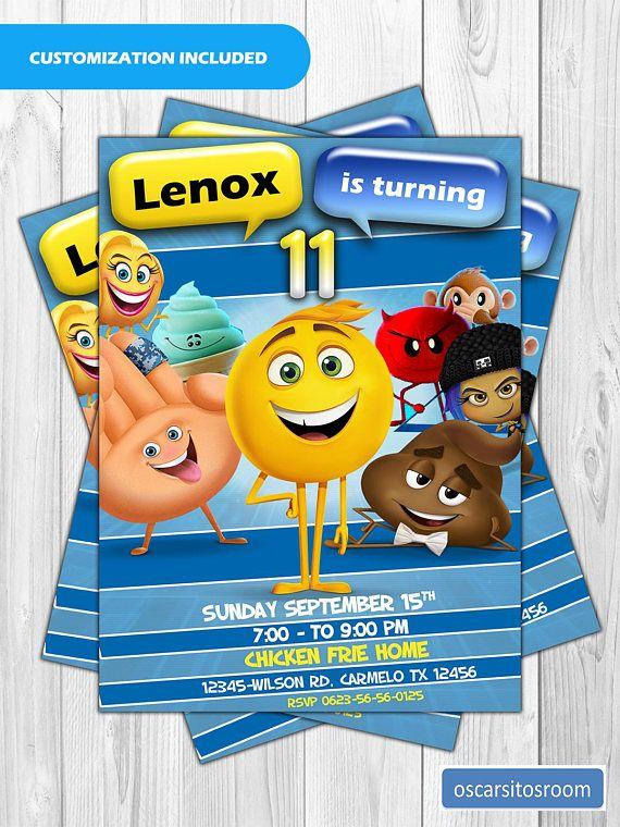 Emoji Movie Customized Birthday Invitation
