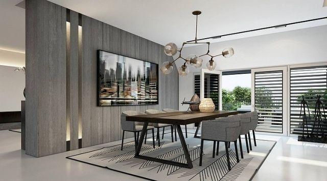 esszimmer grau holz esstisch teppich konleuchter | Living Room ...