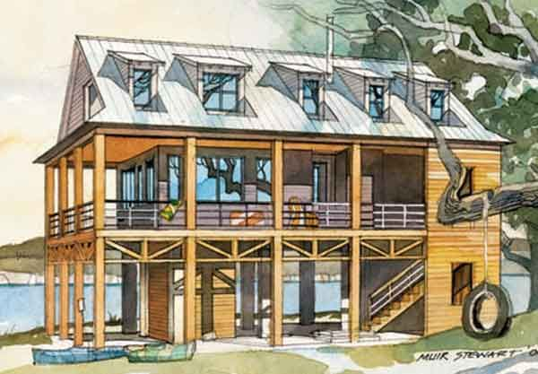 A Little More Square Feet Than We Think We Want 2200 But A Great Raised Plan For River Lot Southern House Plans Beach House Flooring Stilt House Plans