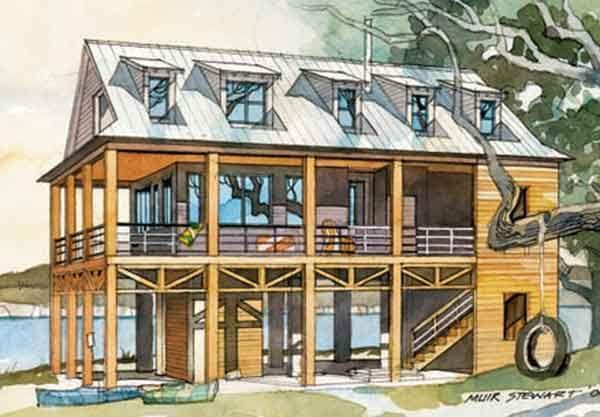 Ideal Floor Plan Perks Of A Full Porch Southern House Plans Beach House Flooring Stilt House Plans