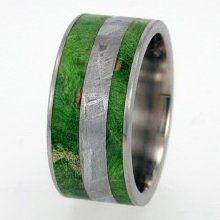Mens Wedding Band - Meteorite and Green Box Elder Burl Wood inlay