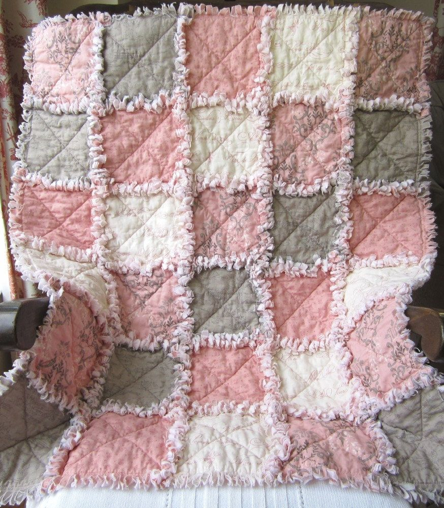 French Country Baby Girl Quilt Rag Quilt Pink Gray 75 00 Via