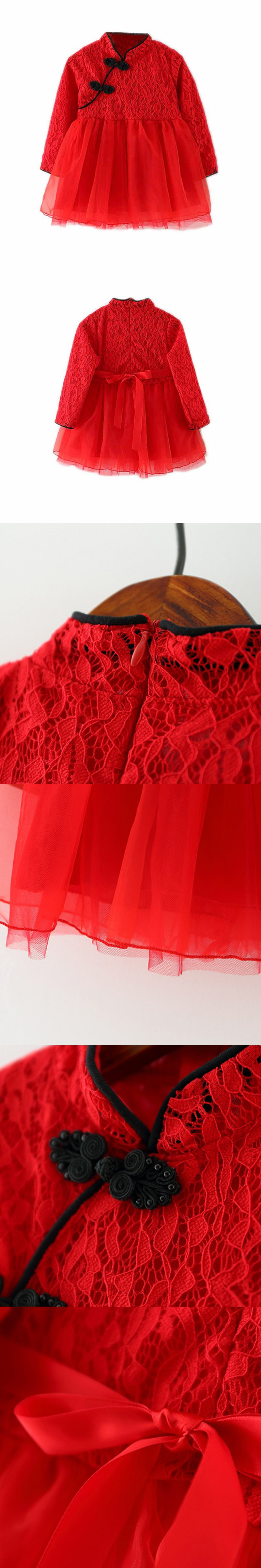 Classic Girl Kid Baby Red Cheongsam Dress Chinese Qipao Clothes