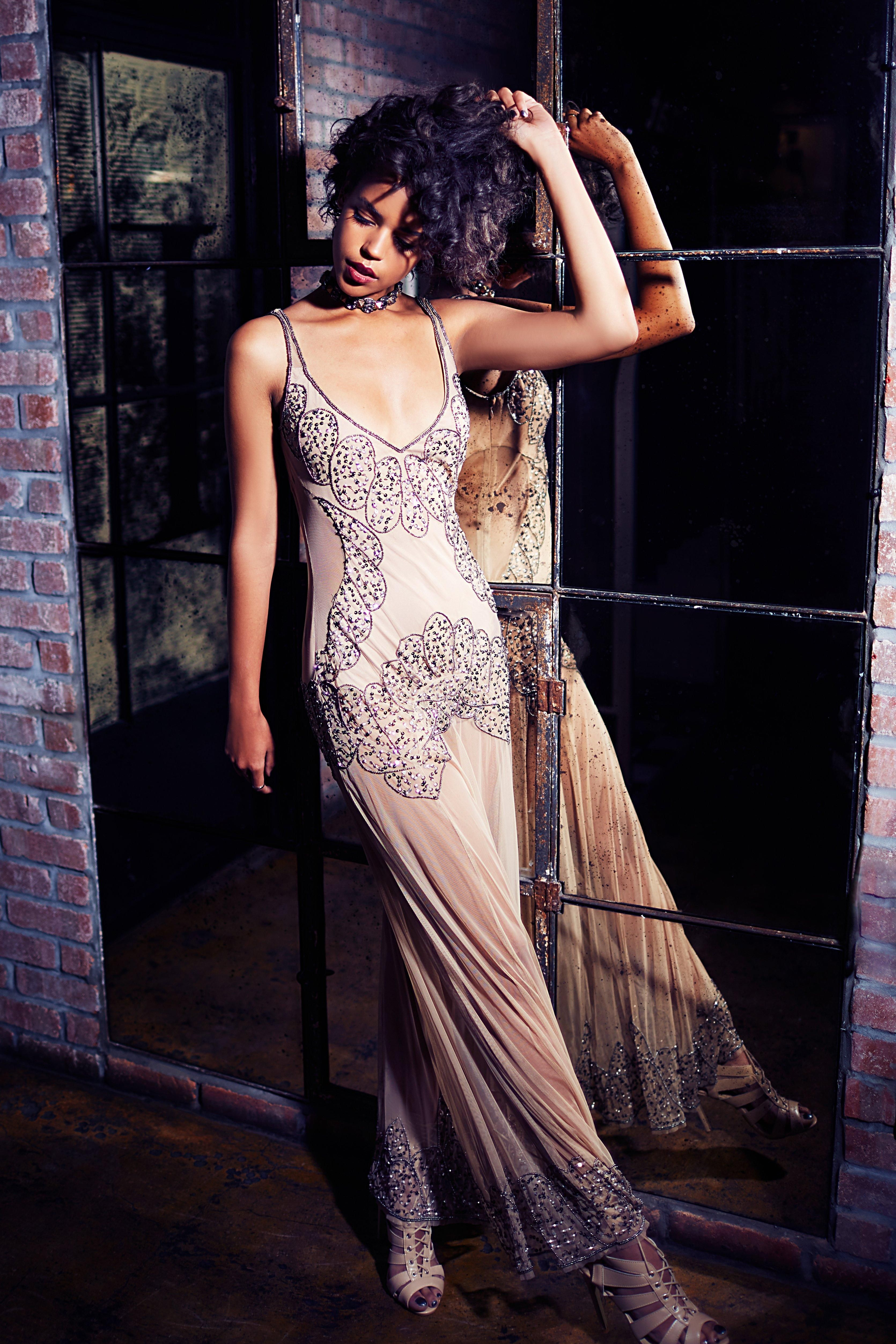 Boutique naty embellished placement maxi dress formal affair