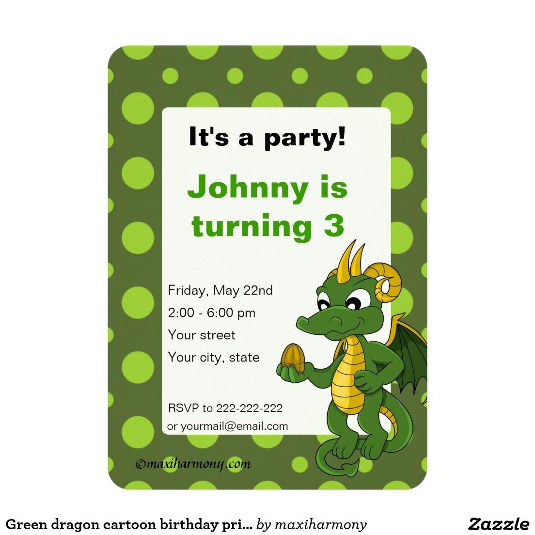 Green dragon cartoon birthday print invitations   Green dragon