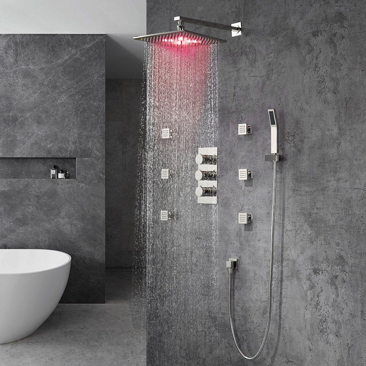 Modern Wall Mount 20 X40 Rain Head With Hanshower Body Spray Jets Shower Set In Polished Chrome Solid Brass In 2021 Rain Head Luxury Shower Shower Set [ jpg ]
