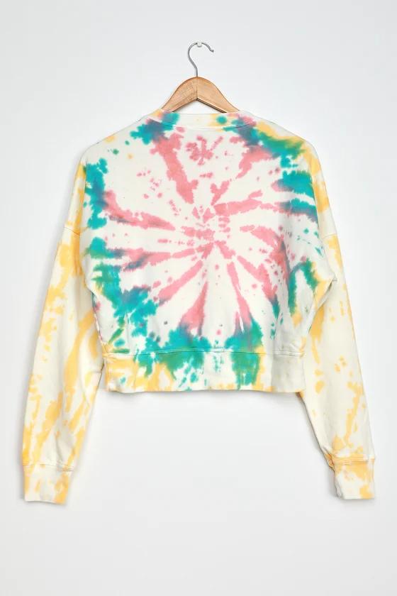 Sherbet Swirl White Multi Tie Dye Cropped Sweatshirt in 2020
