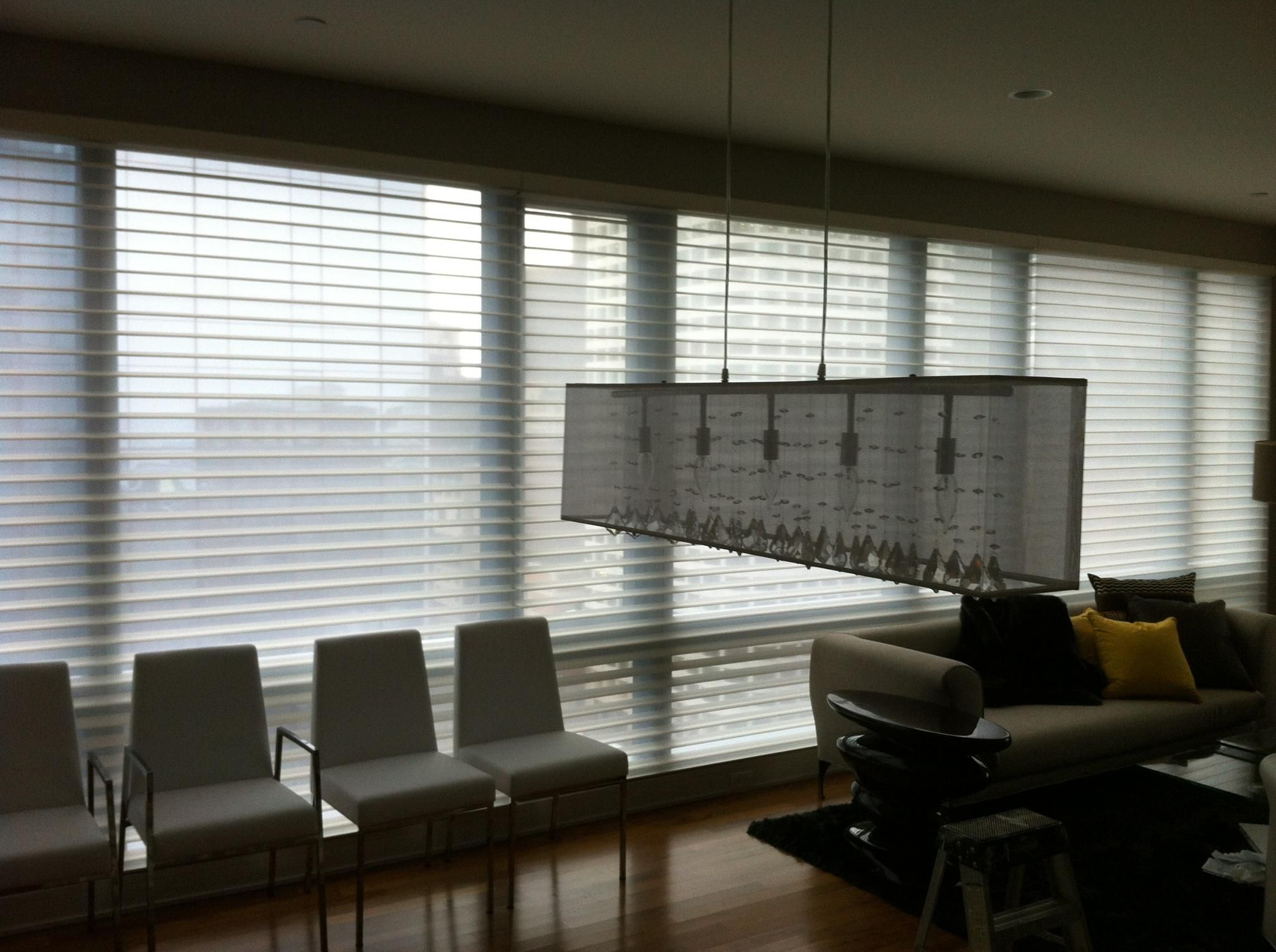 These custom blinds were installed on the th floor in boston ma