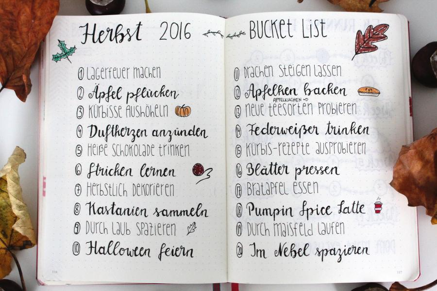 {journaling} 20 Dinge für den Herbst - eine Bucket List - pinselleicht - einfaches Hand Lettering für jeden!