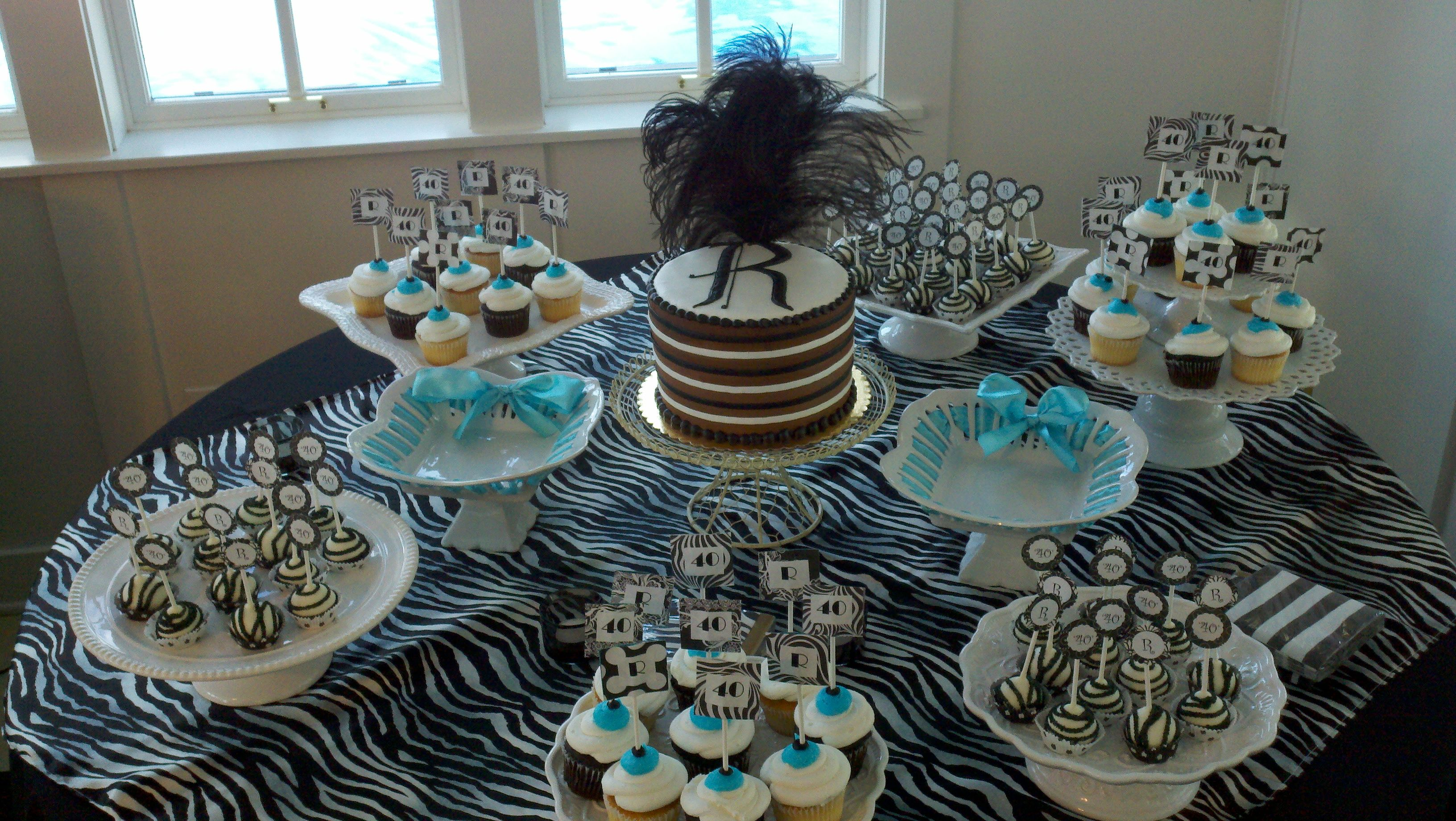 Black and white pops to go with the 40th birthday party for 40th birthday decoration ideas