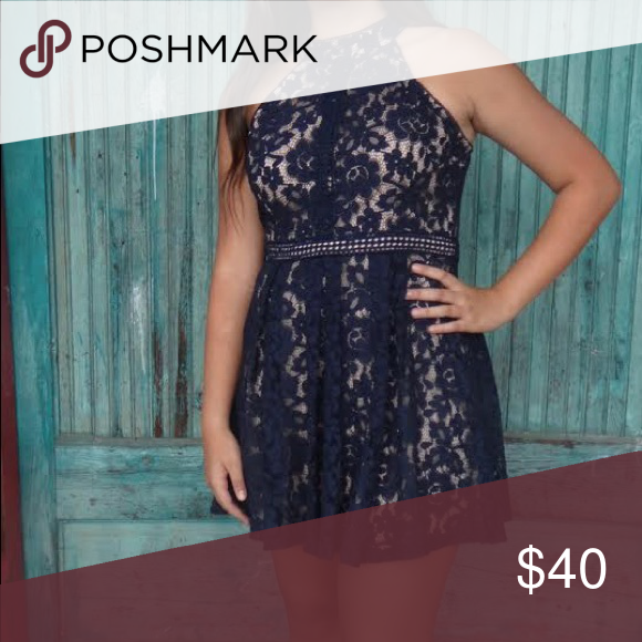 Adorable Short formal dress! Navy Blue lace with nude lining. Altar'd State Dresses Mini #navyblueshortdress