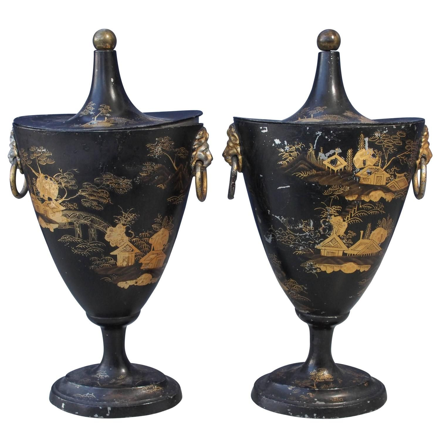 Pair of Early 19th Century Tole Piente Chestnut Urns with Chinoiserie Decoration | From a unique collection of antique and modern vases and vessels at https://www.1stdibs.com/furniture/decorative-objects/vases-vessels/